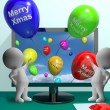 Balloons With Happy Xmas Showing Online Greeting — Stock Photo