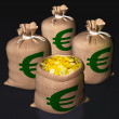 Bags Of Coins Shows European Economy — Stock Photo