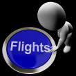 Stock Photo: Flights Button For Overseas Vacation Or Holidays