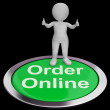Order Online Button Shows Purchasing On The Web - Stock Photo