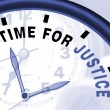 Foto de Stock  : Time For Justice Message Shows Law And Punishment