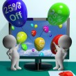 Stock Photo: Balloons From Computer Showing Sale Discount Of Twenty Five Perc