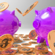 Raining Coins On Piggybanks Shows Richness — Stockfoto