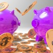 Raining Coins On Piggybanks Shows Richness - Stock Photo
