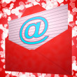 At Envelope Shows Email Message And Correspondence — Stok Fotoğraf #21246269