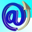 At-Symbol Shows E-mail Through Internet Technology — Stock Photo