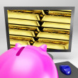Stock Photo: Gold Bars Screen Shows Shiny Valuable Treasure