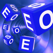 SEO Dice Background Shows Optimized Search Engine — Stock Photo