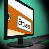 Excuses On Monitor Shows Reasons — Stock Photo