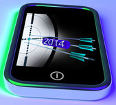 2014 Arrows On Smartphone Shows Future Plans — Stock Photo