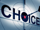 Target Choice Shows Two-way Path Decision — Stock Photo