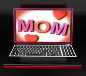 Mom On Laptop Showing Digital Card — Stock Photo