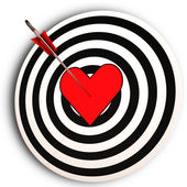 Heart Target Means I Love You Achieved — Stock Photo
