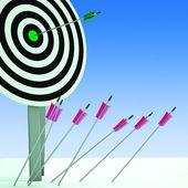 Arrow On Dartboard Showing Efficiency — Stock Photo