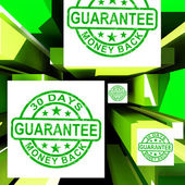 Guarantee On Cubes Shows Certificated Item — Stock Photo