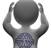 Hand Made Stamp On Man Shows Original Handmade — Stock Photo