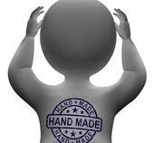 Hand Made Stamp On Man Shows Original Handmade — Stock Photo