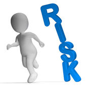 Risk And 3d Character Showing Peril And Uncertainty — Stock Photo