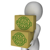 Fragile Stamp On Boxes Showing Breakable Or Delicate Products — Stock Photo