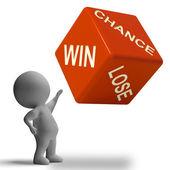 Chance gagnant perdant dés montrant le jeu — Photo