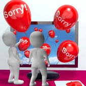 Sorry Balloons From Computer Showing Online Apology Or Remorse — Stock Photo