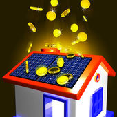 Coins Falling On House Showing Extra Money And Improved Economy — Stock Photo