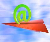 At Sign Aeroplane Shows E-mail Sending Post — Stock Photo
