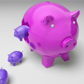 Piggybanks Inside Piggybank Shows Investment Revenues — Stock Photo