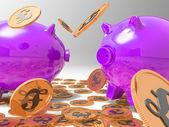 Raining Coins On Piggybanks Shows Richness — Stock Photo