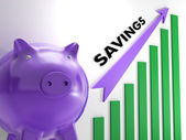 Raising Savings Chart Shows Monetary Growth — Stock Photo