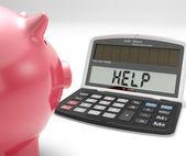 помощь калькулятор показывает заимствовать сбережений и составление бюджета — Стоковое фото