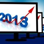2013 On Monitors Shows Monetary Increase And Forecasting — Stock Photo #21842461