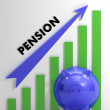 Stock Photo: Raising Pension Chart Showing Monetary Growth