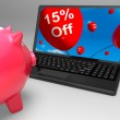 Fifteen Percent Off On Laptop Showing Price Reductions — Stock Photo