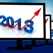 Stock Photo: 2013 On Monitors Shows Monetary Increase And Forecasting
