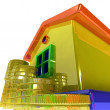 Stok fotoğraf: Coins Around House Shows Real Estate Investments