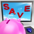 Save On Monitor Shows Big Promotions — Stock Photo