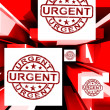 Stock Photo: Urgent On Cubes Shows Urgent Priority