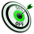 Stock Photo: 50 Percent Off Shows Reduction In Price