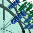 2014 Accurate Dart Target Shows Successful Future — Stock Photo #21843499