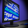 Foto Stock: Brainstorm On Monitor Shows Creative Ideas