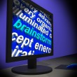 Foto de Stock  : Brainstorm On Monitor Shows Creative Ideas
