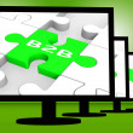 B2B On Monitors Shows Emarketing — Stock Photo