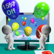 Balloons From Computer Showing Sale Discount Of Fifteen Percent - ストック写真