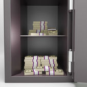Open Safe With Money Shows Investment Funds — Stock Photo