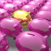 Golden Piggybank Among Group Showing Unique Banking Accounts — Stock Photo