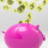 Coins Entering Piggybank Showing England Deposits — Stock Photo