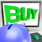 Buy On Monitor Shows Shopping — Stock Photo