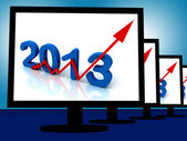 2013 On Monitors Shows Monetary Increase And Forecasting — Stock Photo