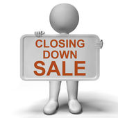 Closing Down Sale Sign Showing Store Bankrupt — Stock Photo